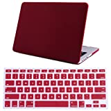 """HDE MacBook Pro 13"""" Retina Case Hard Shell Cover Rubberized Soft Touch + Keyboard Skin - Fits Model A1425 / A1502 (No CD Drive) (Burgundy)"""