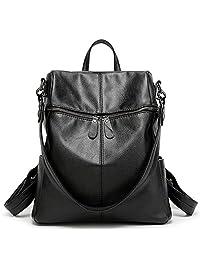 Toupons Women & Girls PU Leather Backpack Purse Fashion Casual Shoulder Bag (Black)