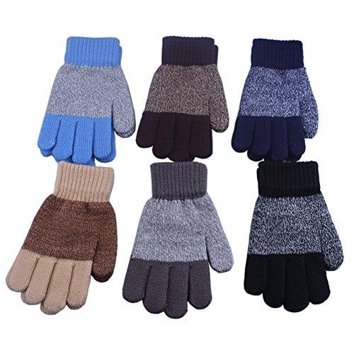 Childrens Magic Gloves (3 Pairs Children Kids Boy Girl Soft Imitation Wool Cashmere Knitted Winter Gloves Mittens Lined (Boy 8-9-10 years))