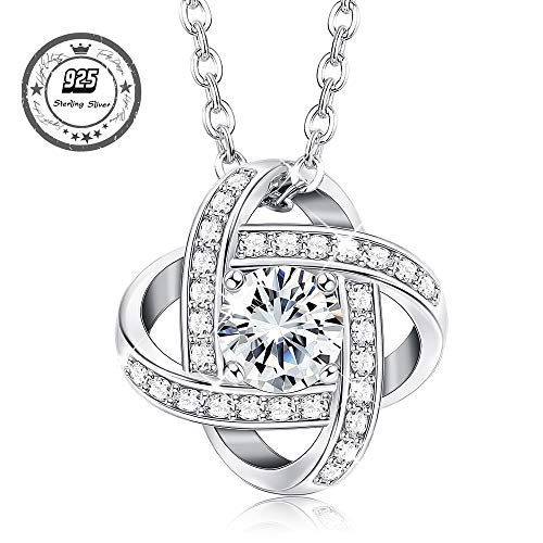 (Besteel 925 Sterling Silver Pendant Necklaces for Women Girls Cubic Zirconia Necklace Mother's Day Birthday Gift)