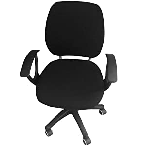 MIFXIN Computer Office Chair Cover Two-Piece Stretch Polyester Slipcovers Universal Swivel Office Desk Task Chair Cover Removable Washable Rotating Armchair Protective Cover (Black)