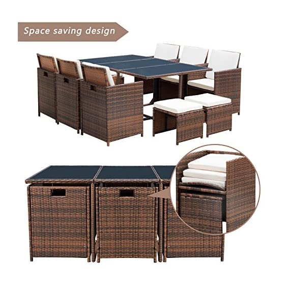 Flamaker 11 PCS Patio Set Cushioned PE Wicker Dining Set Sectional Conversation Set Rattan Outdoor Furniture Space Saving Furniture with Ottoman (11 Pieces) - 【Sturdy & Durable】Durable steel frame connected by anti-loosing bolts,covered by high quality hand woven all weather PE wicker, ensure a long-term usage. 【Space Saving Design】Put the ottoman under the chair then fold the seat back and put the cushion on the back,you can easily store them under the table to save space. 【Elegant & Practical】The hole on the back and three pieces of detachable glass make the furniture easy to move and rearrange.Comfortable zippered cushions for easy cleaning. - patio-furniture, dining-sets-patio-funiture, patio - 51s1qCJib4L. SS570  -