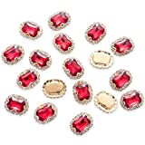30Pcs Crystal Rhinestones Sewing on, Premium Red Rhinestones Flatback Beads Buttons with Bling Diamonds, DIY Crafts Gems for Clothing, Bags, Shoes, Dress, Wedding Party Decoration (Red)