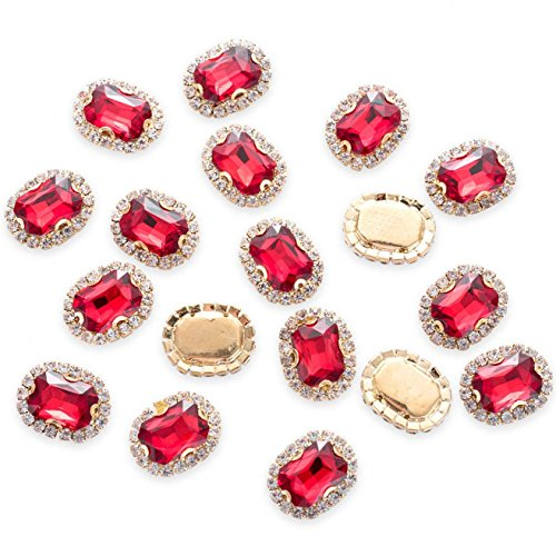 30Pcs Crystal Rhinestones Sewing on, Premium Red Rhinestones Flatback Beads Buttons with Bling Diamonds, DIY Crafts Gems for Clothing, Bags, Shoes, Dress, Wedding Party Decoration -