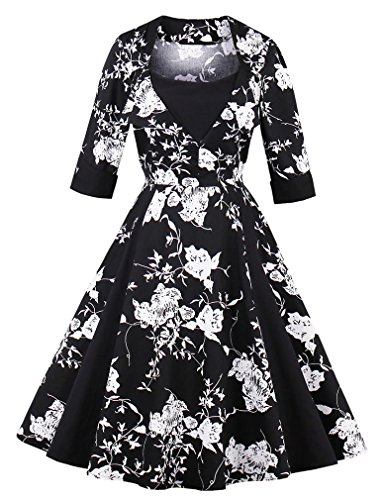 (Killreal Women's Half Sleeved Semi Formal Floral Cocktail Bridesmaid Dress Black Medium)