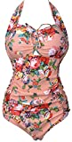 Women's Retro Floral Halter Vintage Ruched Fold Swimsuit Swimwear ,Pink,US L/Asian 3XL