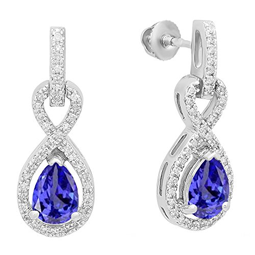 (Dazzlingrock Collection 10K 7X5 MM Each Pear Tanzanite & Round White Diamond Infinity Dangling Drop Earrings, White Gold)