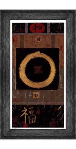 Poster Palooza Framed Asian Tranquility- 8.5x16.5 Inches - Art Print (Black Barnwood Frame) Asian Tranquility Framed Print