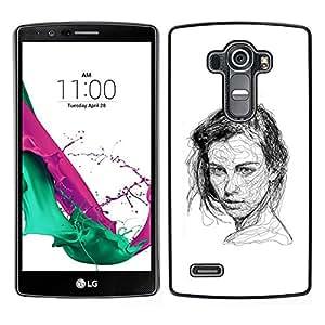 // PHONE CASE GIFT // Duro Estuche protector PC Cáscara Plástico Carcasa Funda Hard Protective Case for LG G4 / Girl Black White Pen Sketch Art Drawing /