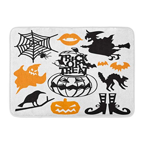 GTdgstdsc Doormats Bath Rugs Outdoor/Indoor Door Mat Bewitching Spooky Halloween Cut Silhouette This Includes Ghost Witch on Broomstick Pumpkin and More Bathroom Decor Rug 16