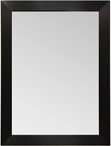 Raphael Rozen Wood Frame Modern Wall Mirror, Rectangle, Black Finish Custom Size up to 65×45