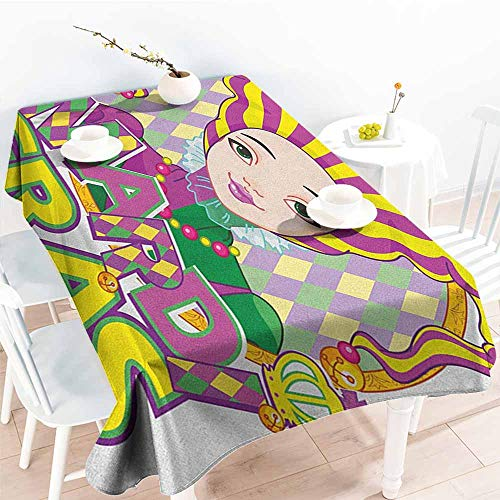 EwaskyOnline Waterproof Table Cover,Mardi Gras Carnival Girl in Harlequin Costume and Hat Cartoon Fat Tuesday Theme,Table Cover for Dining,W54x90L, Yellow Purple Green for $<!--$46.31-->