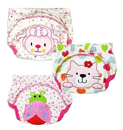 JZHY 3 Pack Baby Training Pants Cotton Cloth Washable For Toddler Kids - Girl,M