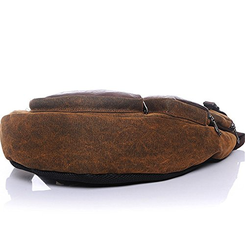 Zipper Back Waterproof Flyci Chest Canvas Casual Pack Shoulder Brown Theft Messenger Anti Men's Bag 1qvZI