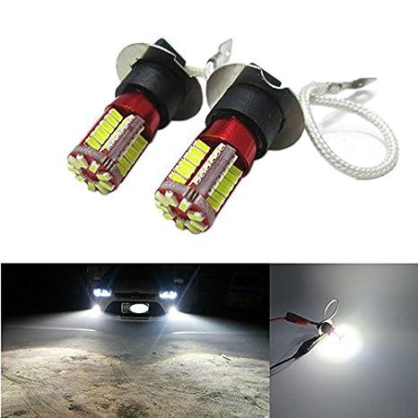 FEZZ LED Bombillas de Coche Auto LED H3 3014 57SMD Lamparas Iluminación para Faros antiniebla DRL