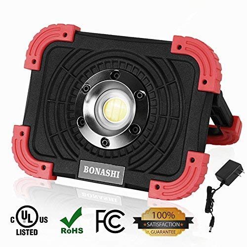 BONASHI 10W COB Rechargeable LED Work Light Cordless Heavy Duty Aluminum Body, Stationary Outdoor Floodlight Camping Workshop Lamp Handheld, 1100 Lumens, Built-in Batteries with USB Port (Heavy Duty Floodlight)