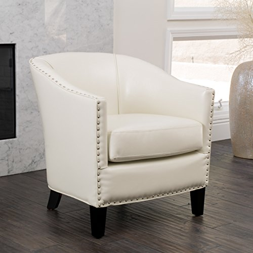 Carlton Leather Club Chair in Ivory