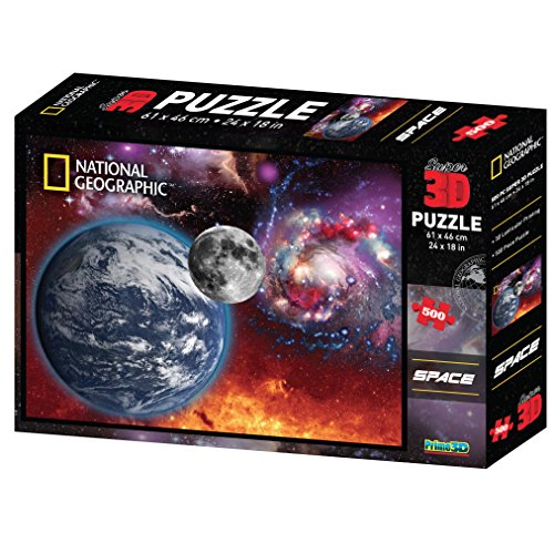 National Geographic 3D Space Puzzle: 500 Piece Jigsaw Puzzles for Kids Adults & Family Games