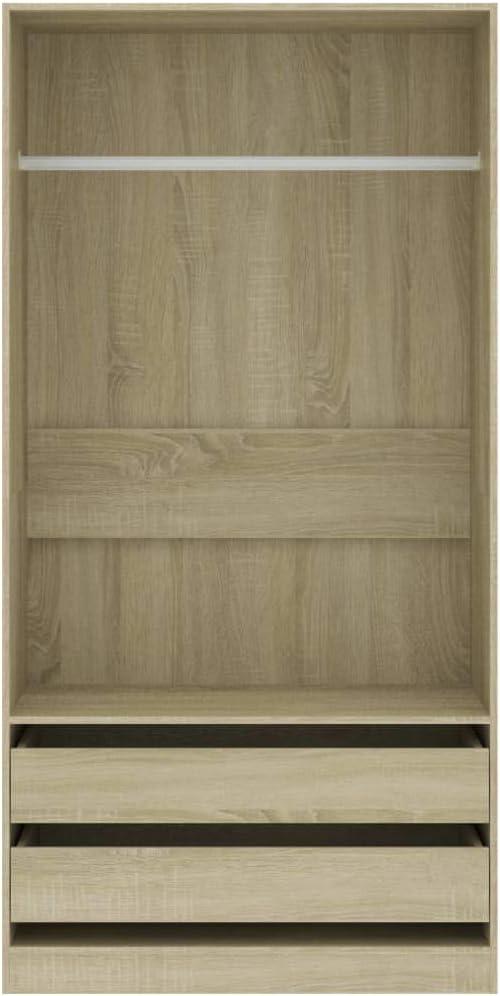 Tidyard Garde-Robe en Agglom/ér/é Solide et Durable Style Naturel Ch/êne Sonoma 100x50x200 cm