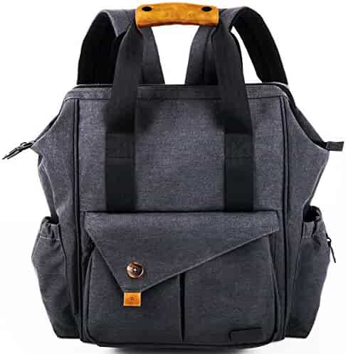 HapTim Multi-function Baby Diaper Bag Backpack W/ Stroller Straps- Insulated Pockets- Changing Pad Included, Nylon Fabric Waterproof for Moms & Dads(Dark Gray-5279)