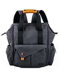Hap Tim Multi-function Baby Diaper Bag Backpack W/ Stroller Straps- Insulated Pockets- Changing Pad Included, High Quality Nylon Fabric Waterproof for Moms & Dads (5279 DarkGray)