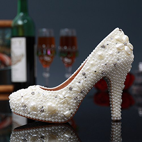 Women's Pumps Miyoopark Bridal Ivory Evening 12cm Bridesmaid LL099 Beaded Heel Shoes Wedding RRw54qA
