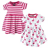 Hudson Baby Baby Girls Cotton Dress, Bright Flamingo 2 Pack, 3-6 Months (6M)