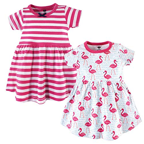 Hudson Baby Baby Girls Cotton Dress, Bright Flamingo 2 Pack, 3-6 Months (6M) -