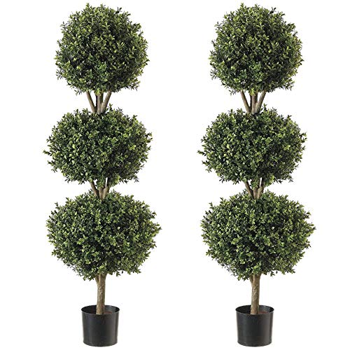 Northwood Calliger 4.6' Artificial Topiary Triple Ball Boxwood Trees Highly Realistic Potted Decorative Buxus Shrubs | Fake Plastic Plants for Home/Garden Décor | Indoor & Outdoor Use|UV Protected (2)