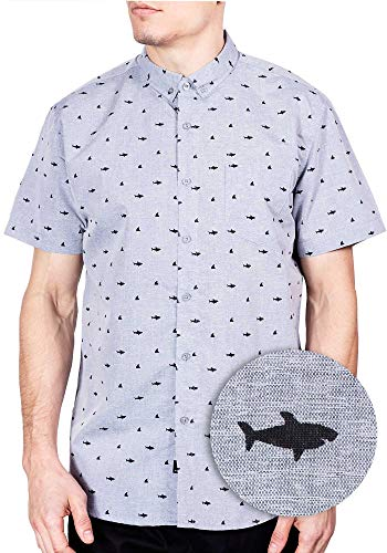 Hawaiian Shark Shirt for Mens Short Sleeve Button Up Shirts for Men Shirts Grey XL ()