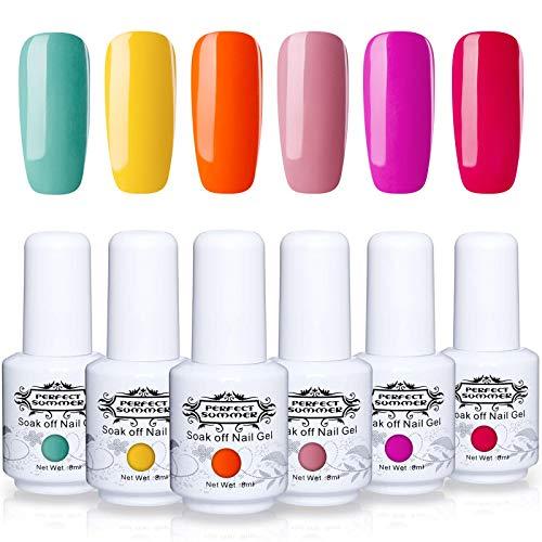 Perfect Summer Gel Nail Polish - 6 Colors Gel Nail Varnish Soak Off UV LED Manicure Home Gel Manicure Salon Set 8ML 123