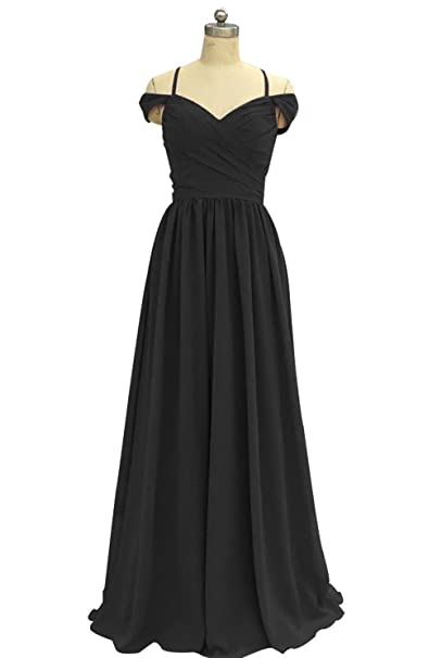 LiCheng Bridal Straps Off Shoulder Chiffon Bridesmaid Dress Long Pleated Prom Formal Gowns at Amazon Womens Clothing store: