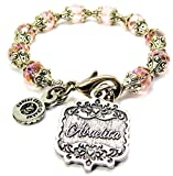 Chubby Chico Charms Abuelita Victorian Scroll Capped Crystal Bracelet in Lavender Purple