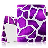 Fintie iPad 1 Folio Case - Slim Fit Vegan Leather Stand Cover with Stylus Holder for Apple iPad 1 1st Generation - Giraffe Purple