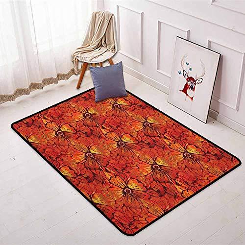 Batik 3D Printed Round Carpet Grungy Distressed Nostalgic Victorian Style Flower Petals Romantic Female Retro Design for Partial Areas D35.4 Inch Orange ()