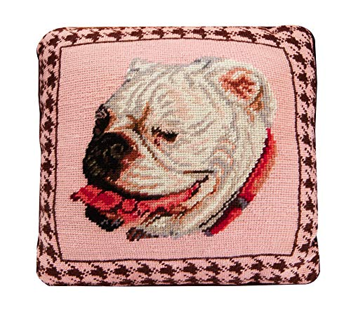 Bulldog Needlepoint Pillow, Square Wool, Handcrafted Cushion Throw Pillow