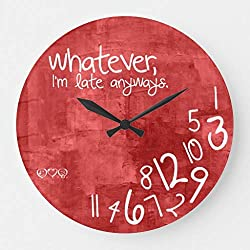 EnjoyHome Whatever Im Late Anyways Wall Clocks Battery Operated Non Ticking Large Decorative Wooden Clock Gifts for Women 16 inches