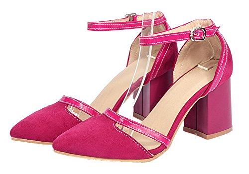 Materials EGHLG004849 Blend Women's Buckle Sandals RoseRed Solid Kitten WeiPoot Heels qtAw18tx