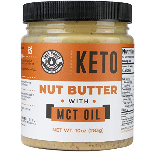 Keto Nut Butter Fat Bomb [Crunchy], New 10 Oz Size! Macadamia Low Carb Nut Butter Blend (1 net carb), Keto Almond Butter with MCT Oil, Left Coast Performance (Organic Nut Butter)