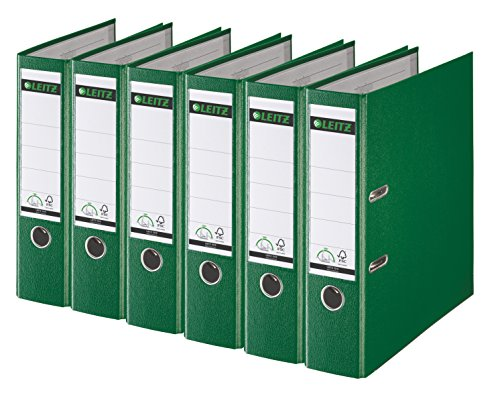 Leitz 2-Ring 3-Inch Premium Linen Textured A4 Sized European Binder 6-Pack, Green (1010PACK-GR)