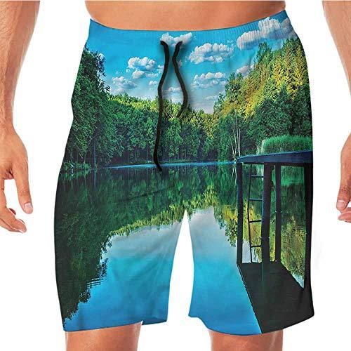 Quick-Dry Beach Board Shorts Nature,Old Wooden Bridge on Lake Swim Shorts Men (Best Nature Of Bonobos)