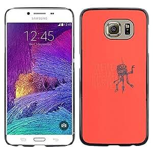 KLONGSHOP // Cubierta de piel con cierre a presión Shell trasero duro de goma Protección Caso - Alla ricerca di qualcosa Robot - Samsung Galaxy S6 //