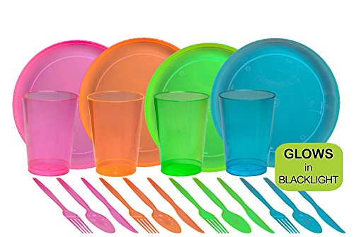 Tiger Chef 80-Piece Neon Assorted Glow Party Supplies Includes Neon Assorted Colors Hard Plastic Plates, Cups and Cutlery in Neon Pink, Blue, Green and Orange (Service for 16)