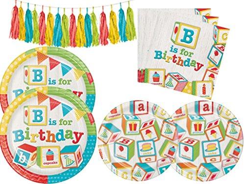Garland Dessert Plate - ABC Blocks Birthday Party Supplies Kit Including Dinner Plates, Dessert Plates, Napkins & Tissue Garland Kit