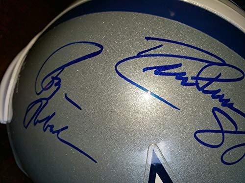 (Roger Staubach Tony Dorsett Drew Pearson Autographed Signed Dallas Cowboys Helmet Triplets - Certified Signature)