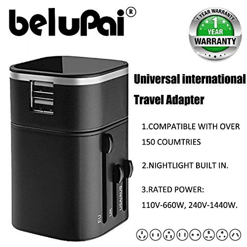Belupai® Travel adapter universal international wall charger with dual usb charging ports uk eu us au plug socket 5v/3200mah safety fused for Apple iPod iPad Android Smartphone Digital Camera