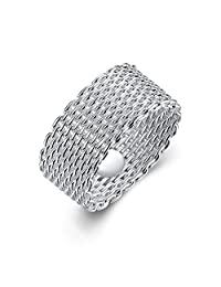 Goldenchen Fashion Beautiful Jewelry New 925 Sterling Silver Mesh Fine Ring Band