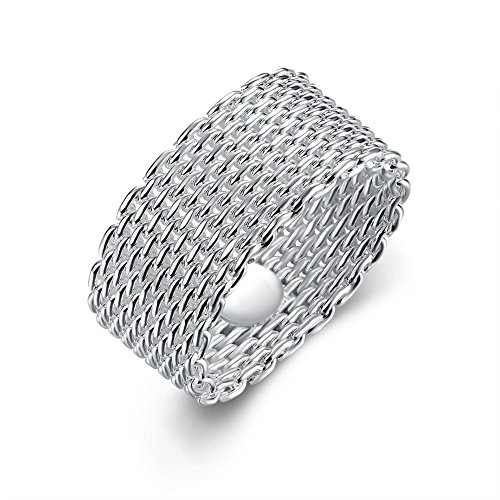 Goldenchen Fashion Beautiful Jewelry New 925 Sterling Silver Mesh Fine Ring Band (6) ()