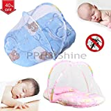 1Pcs Portable Baby Infants Crib Netting | Mosquito Insect Net Baby Safe Bedding | Netting Baby Cushion Mattress with Pillow (Blue 2)