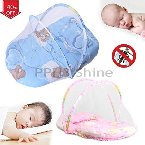 1Pcs Portable Baby Infants Crib Netting   Mosquito Insect Net Baby Safe Bedding   Netting Baby Cushion Mattress with Pillow ()